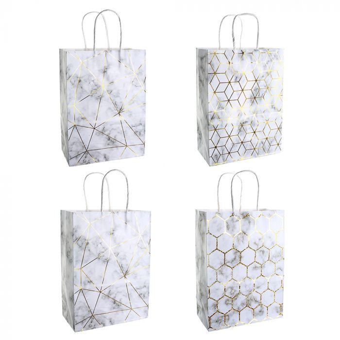 Bolsa de regalo papel estampada marmol con foil 18.5x9.5x25.5 cm x1u