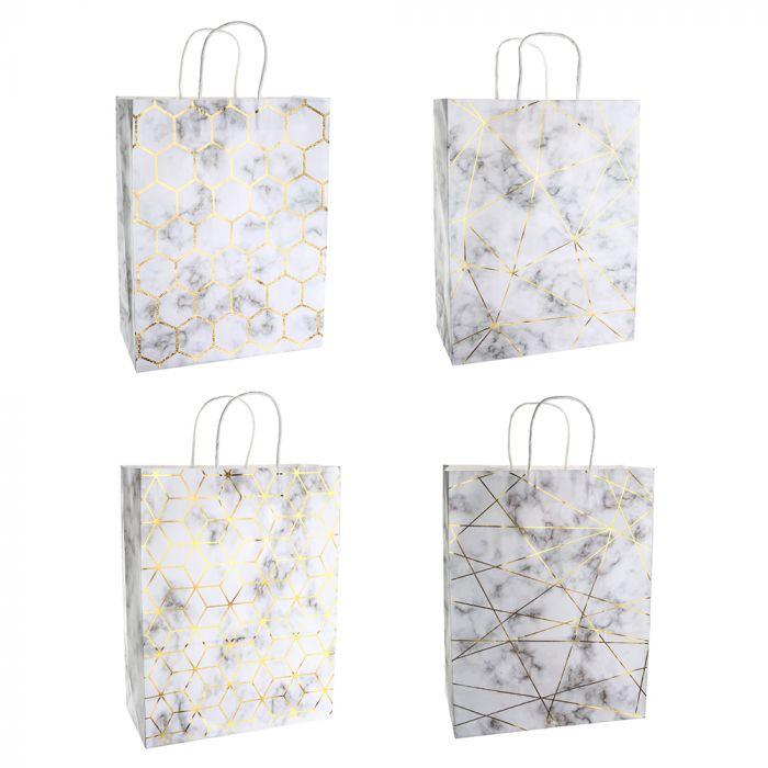 Bolsa de regalo papel estampada marmol con foil 25.5x12.5x37 cm x1u