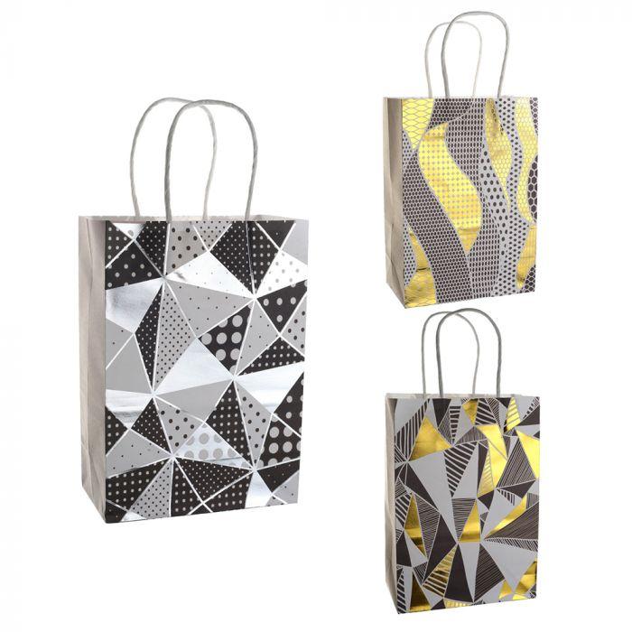 Bolsa de regalo papel estampada geometrica con foil 15x8x21 cm x1u