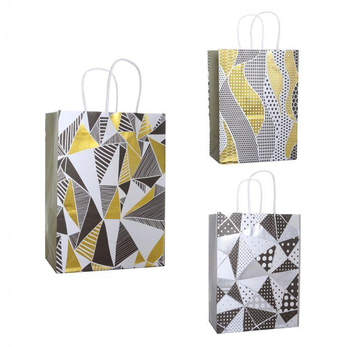 Bolsa de regalo papel estampada geometrica con foil 18.5x9.5x25.5 cm x1u