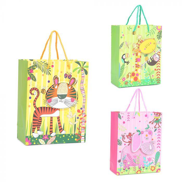 Bolsa de regalo 3D cartón estampada l18x23x8cm x1u