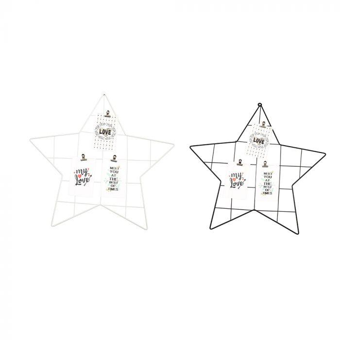 Portarretrato grilla metalilca estrella 48x48 cm x1u
