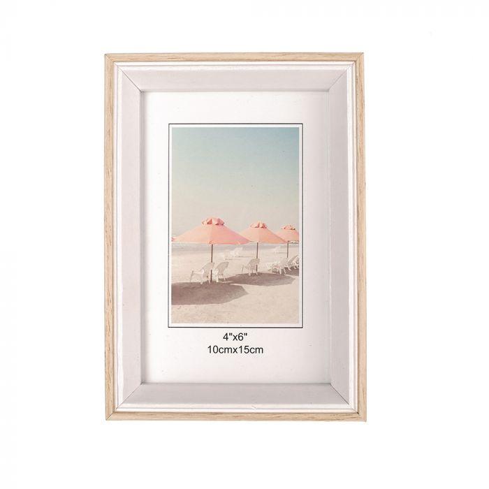 Portarretrato blanco y madera 10x15 cm x1u