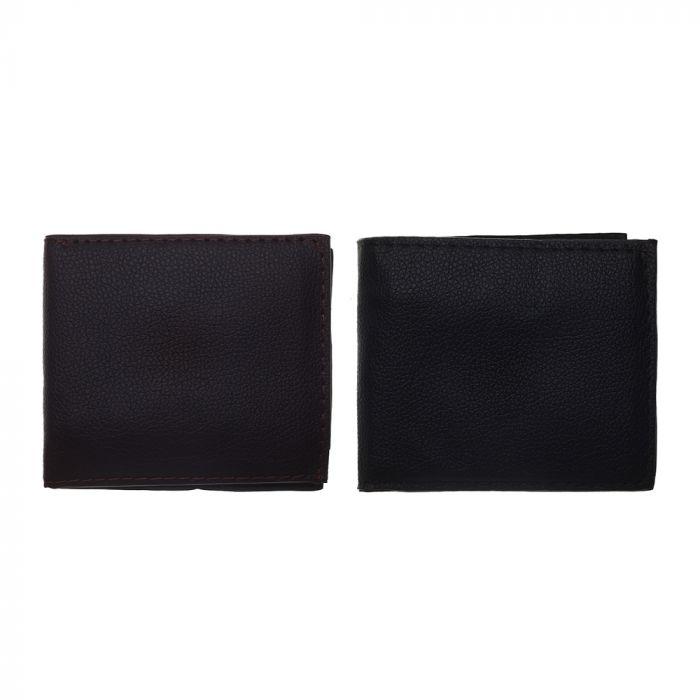 Billetera hombre PU con textura opaca 10x9 cm x1u