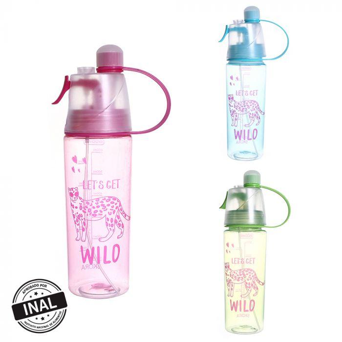 Botella con atomizador 600ml estampa wild x1u
