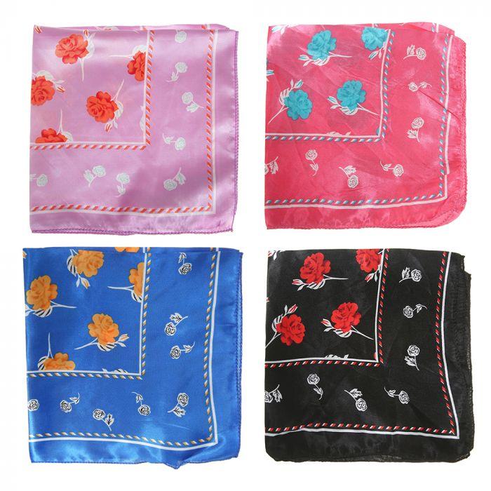 Pañuelo rasado 50x50 cm estampa rosas x1u