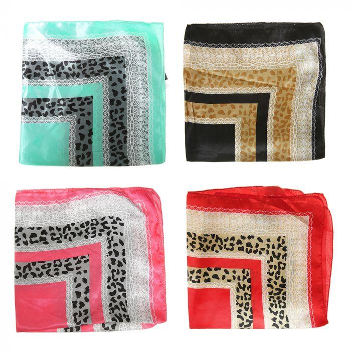 Pañuelo rasado 50x50 cm estampa leopardo x1u