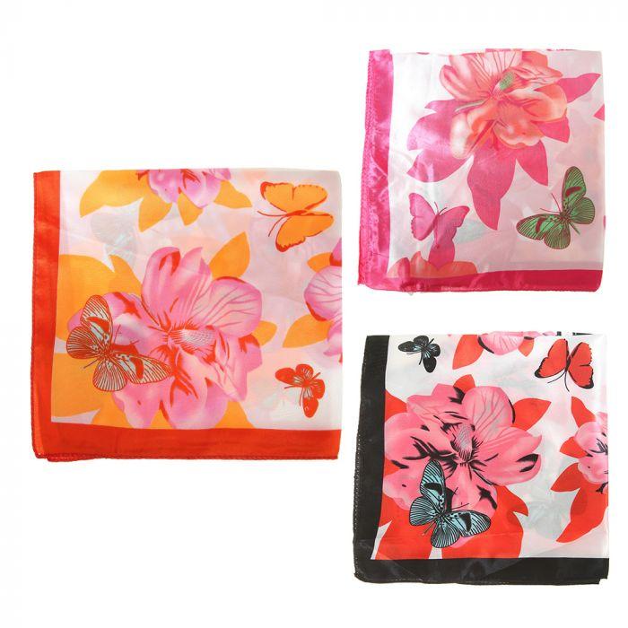 Pañuelo rasado 50x50 cm estampa flores x1u