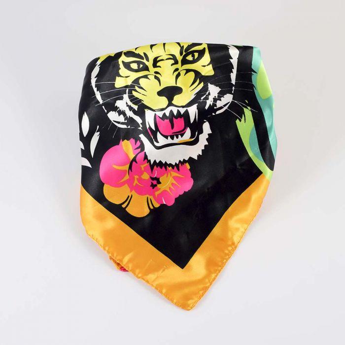 Panuelo 90x90 estampado tigre x1u