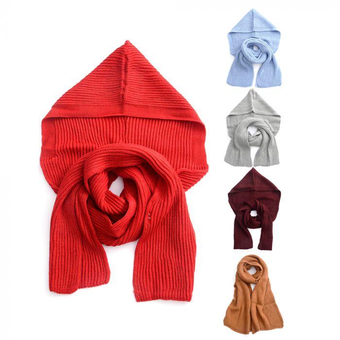 Bufanda dama con capucha lisa 20x190 cm x1u