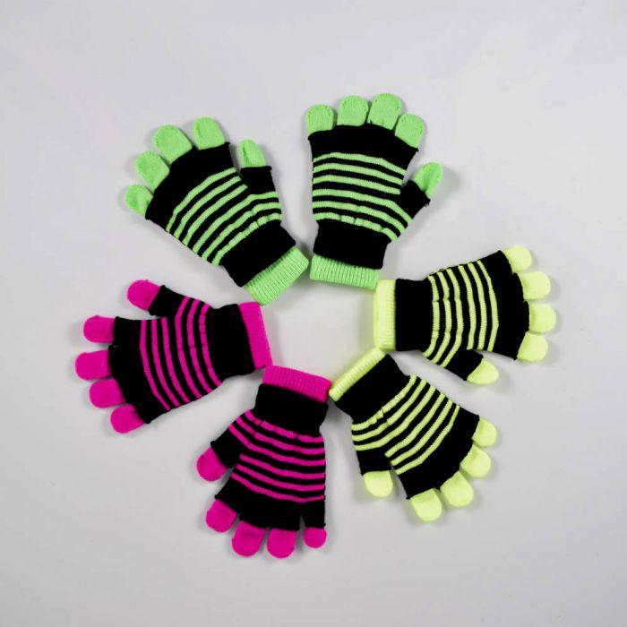 Set guante dama doble raya fluo x2u