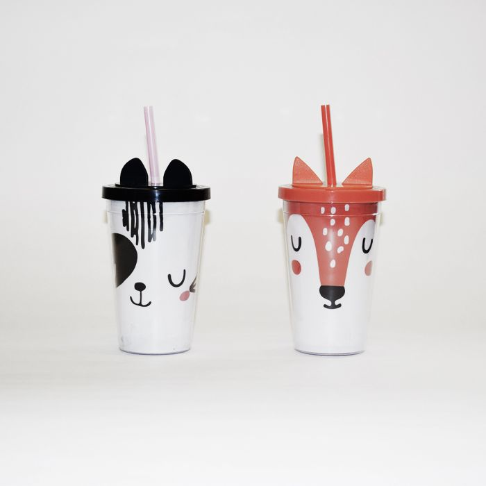 Vaso con sorbete animalitos con orejas 350ml x1u