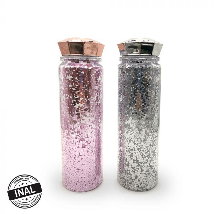 Botella con glitter y tapa diamante 650ml x1u