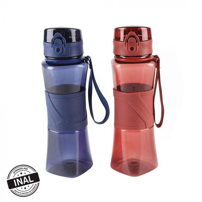 Botella con tapa y agarre de silicona 550ml x1u