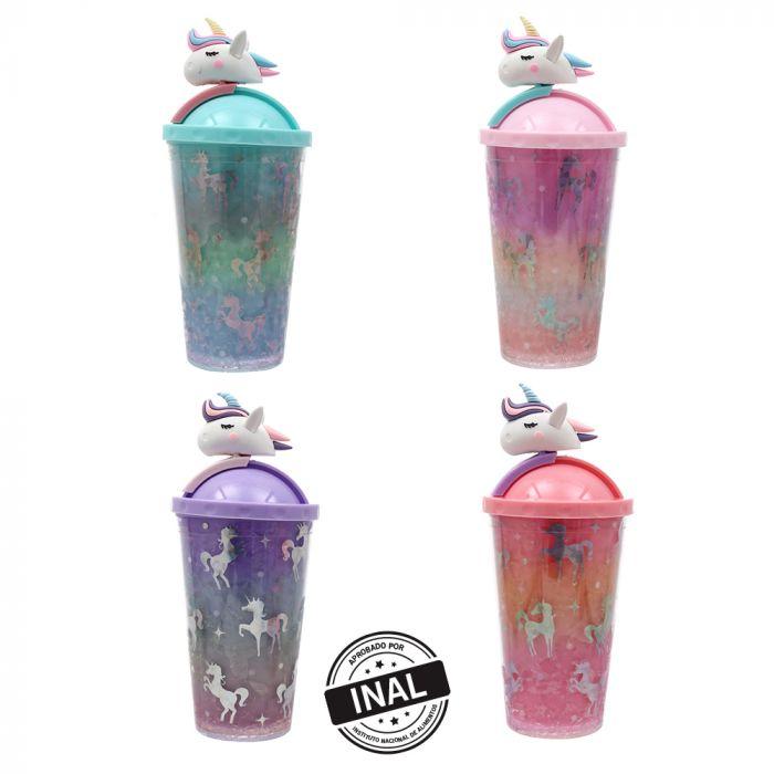 Vaso de gel refrigerante con sorbete y tapa con figura 3D 400 ml x1u