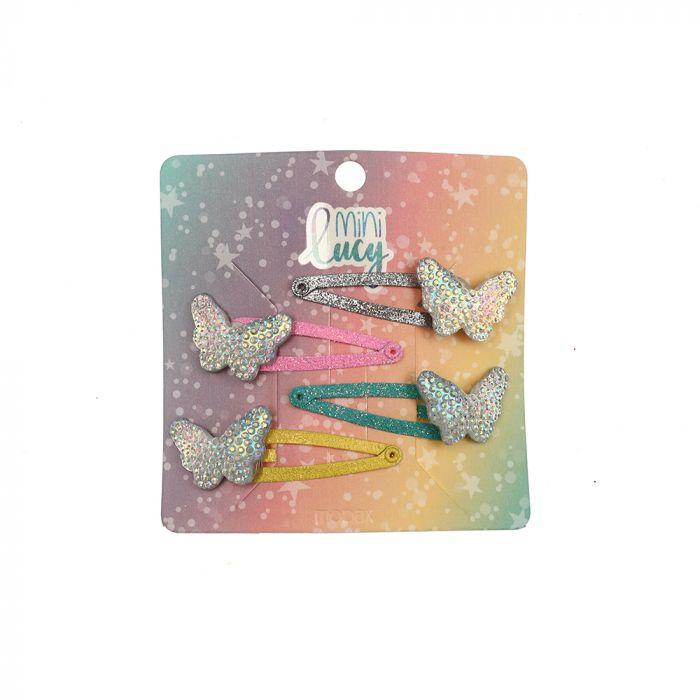 Set tic tac infantil con dije mariposa x4u