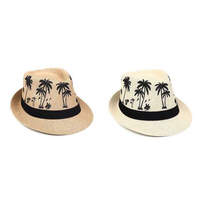 Sombrero tanguero dama rafia estampado palmeras 58cm x1u
