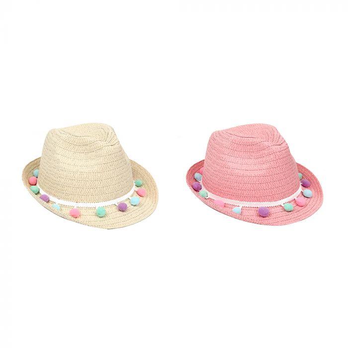 Sombrero tanquero infantil pompones 52cm x1u