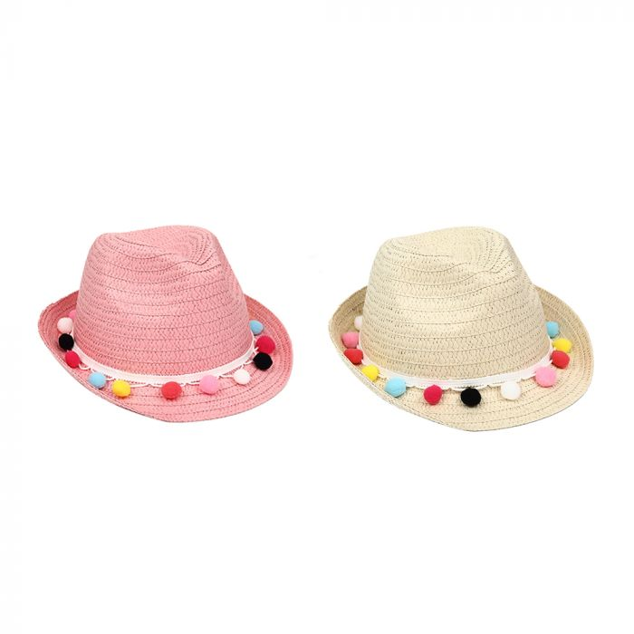 Sombrero tanguero infantil pompones 52cm x1u