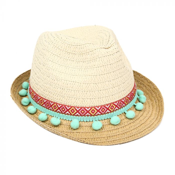 Sombrero tanguero infantil pompones 56cm x1u