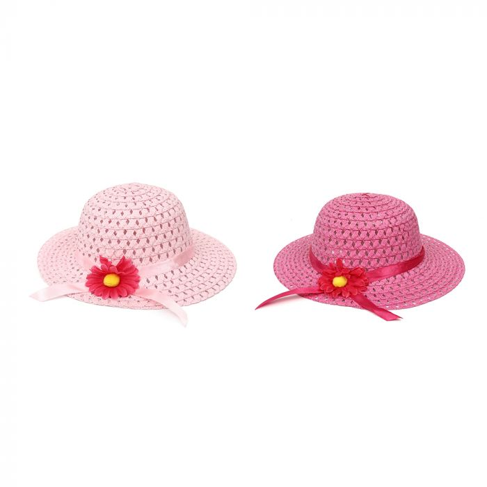 Sombrero capelina infantil calado con flor x1u